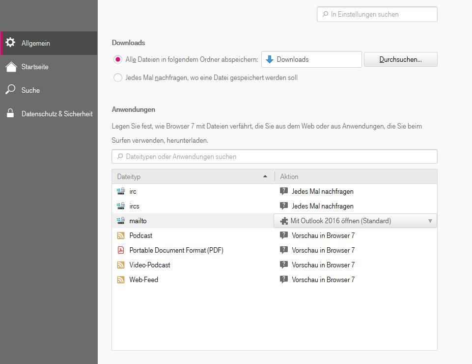 Einstellungen zur Verfahrensweise mit Dateitypen und Anwendungen