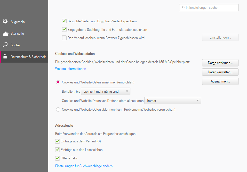 Wo kann ich Einstellungen zur lokalen Speicherung (Cache) von Webseiten im Browser 7 vornehmen?