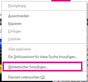 Wie füge ich dem Browser 7 ein Wörterbuch hinzu bzw. wie kann ich es wechseln?