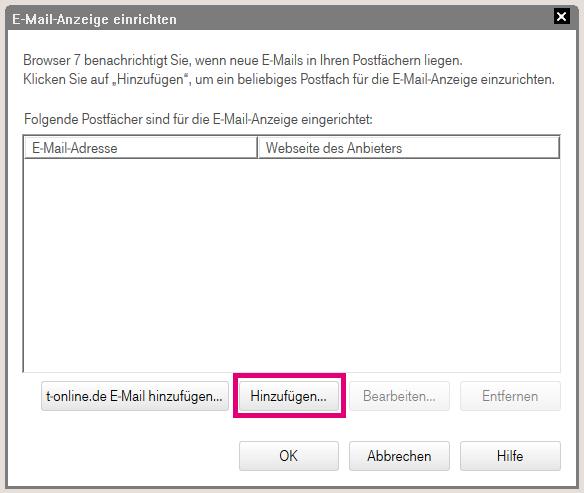 Wie kann ich die E-Mail-Anzeige und die akustische E-Mail-Benachrichtigung im Browser 7 einrichten?