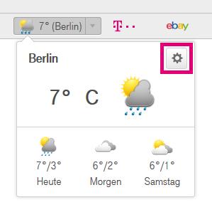 Wie kann ich die Wetter-Anzeige für meine Stadt im Browser 7 einrichten?